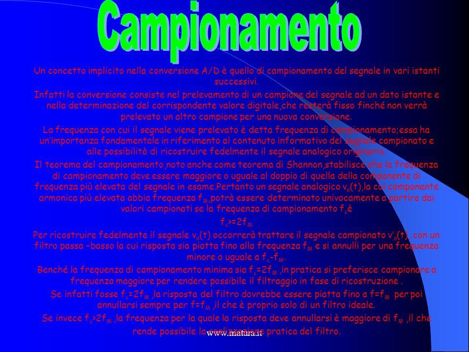CampionamentoUn concetto implicito nella conversione A/D è quello di campionamento del segnale in vari istanti successivi.