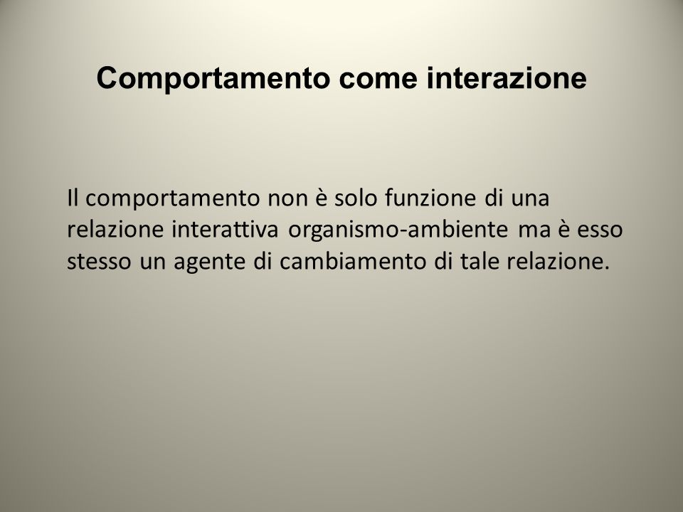Comportamento come interazione