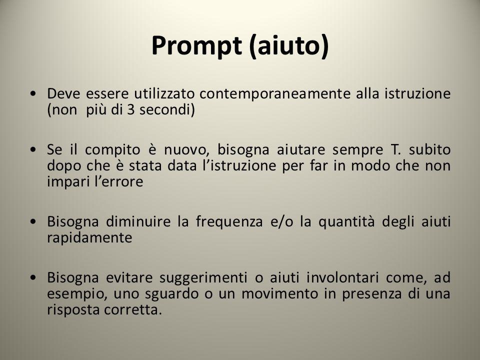 Prompt (aiuto) Deve essere utilizzato contemporaneamente alla istruzione (non più di 3 secondi)