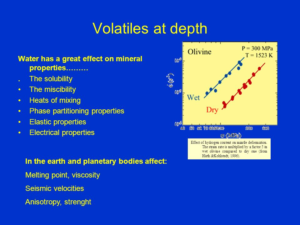 Volatiles at depth Water has a great effect on mineral properties………