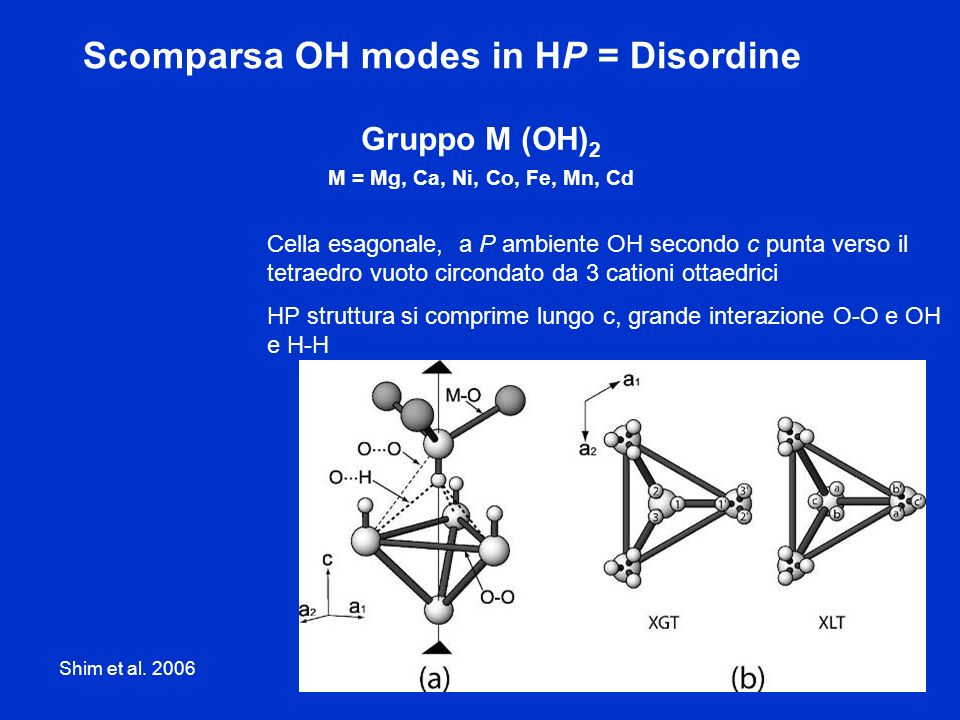 Gruppo M (OH)2 M = Mg, Ca, Ni, Co, Fe, Mn, Cd