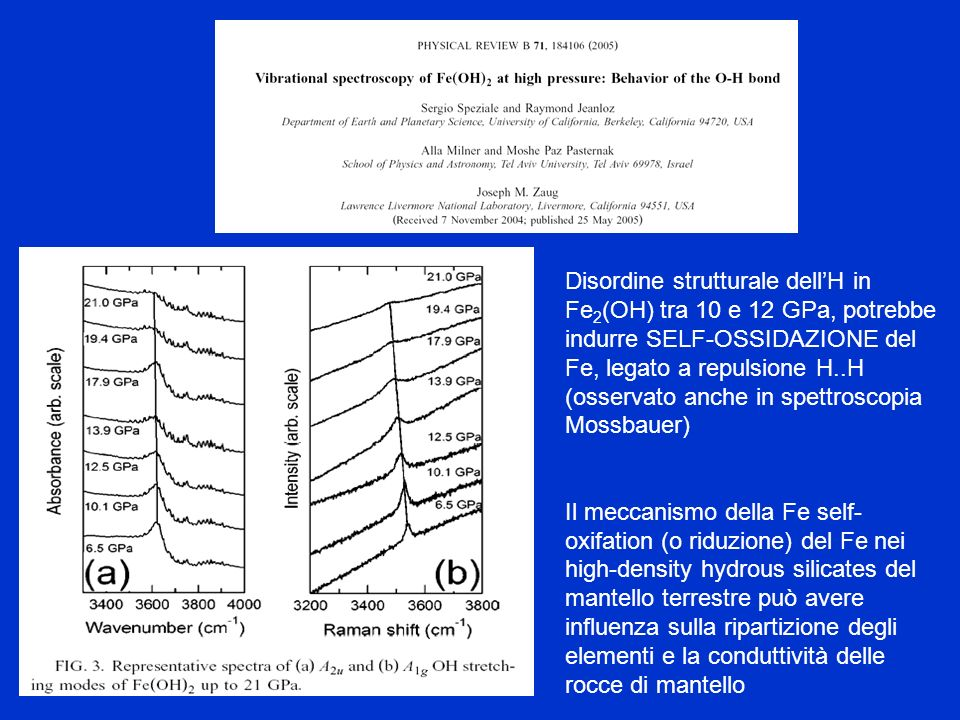 Disordine strutturale dell'H in Fe2(OH) tra 10 e 12 GPa, potrebbe indurre SELF-OSSIDAZIONE del Fe, legato a repulsione H..H (osservato anche in spettroscopia Mossbauer)