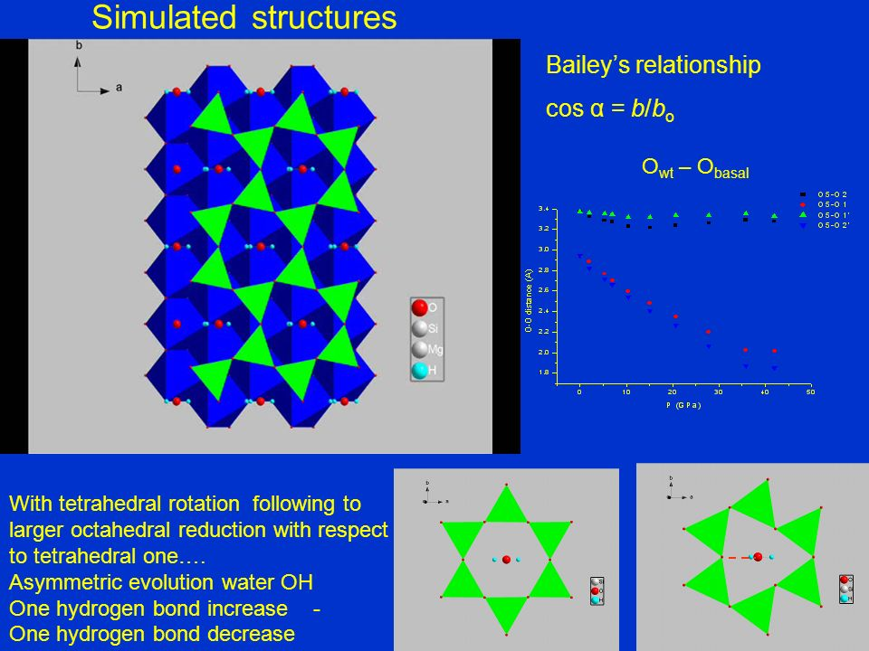Simulated structures Bailey's relationship cos α = b/bo Owt – Obasal