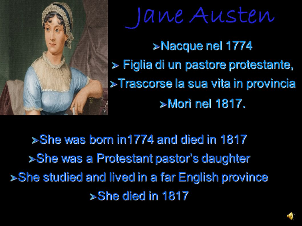 Jane Austen Nacque nel 1774 Figlia di un pastore protestante,