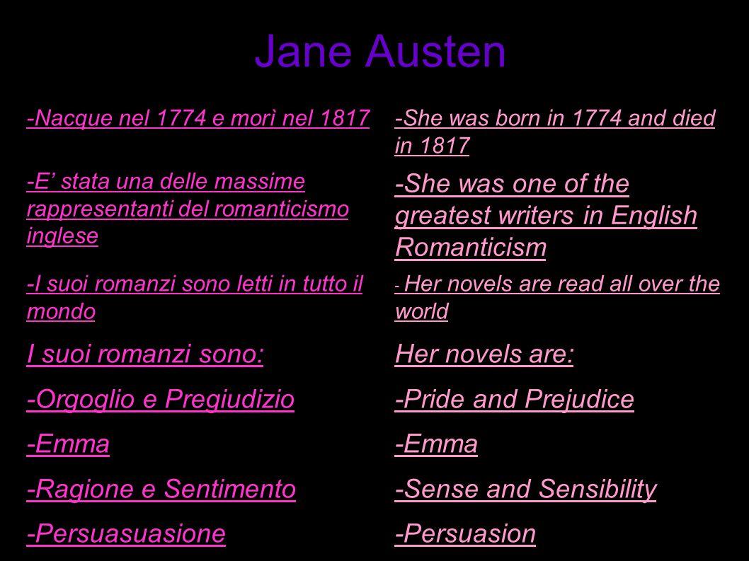 Jane Austen-Nacque nel 1774 e morì nel 1817. -She was born in 1774 and died in 1817.