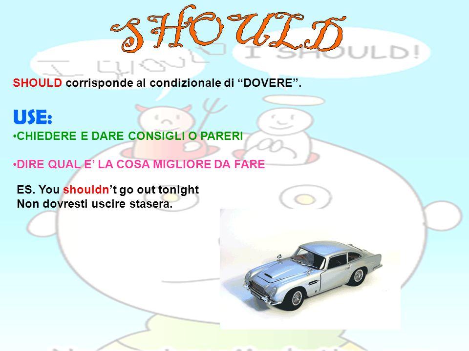 SHOULD USE: SHOULD corrisponde al condizionale di DOVERE .