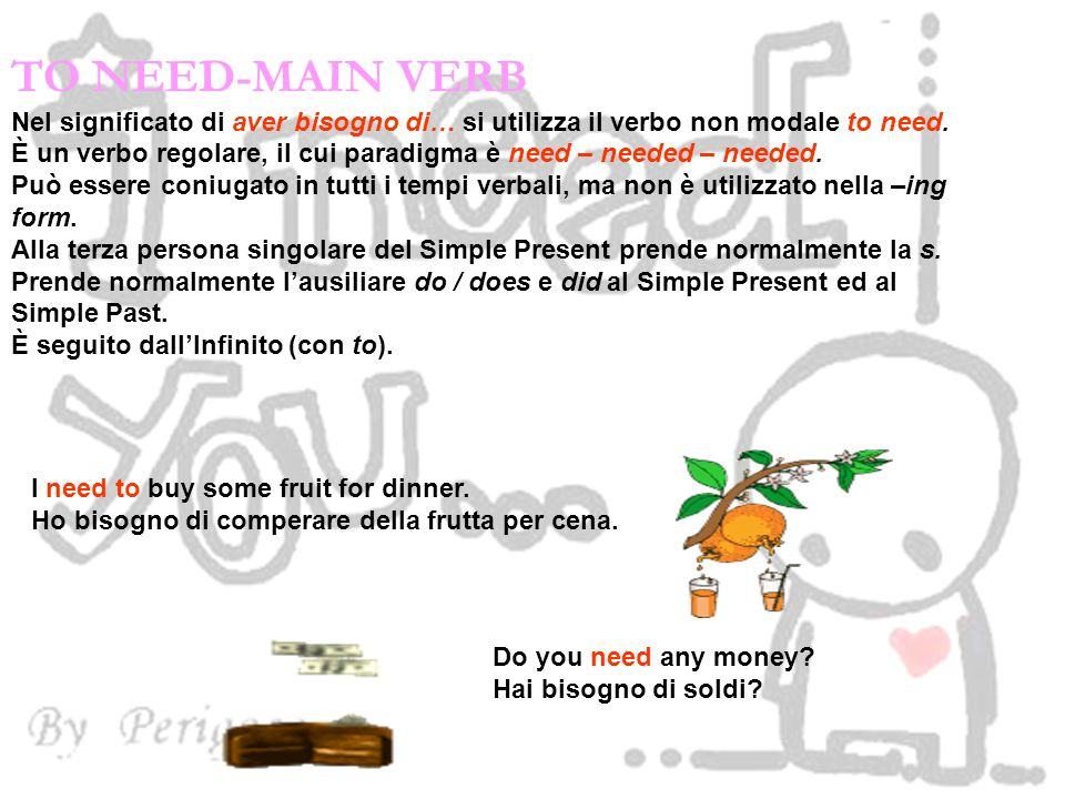 TO NEED-MAIN VERB Nel significato di aver bisogno di… si utilizza il verbo non modale to need.