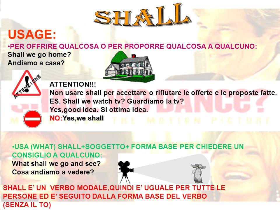SHALL USAGE: PER OFFRIRE QUALCOSA O PER PROPORRE QUALCOSA A QUALCUNO: