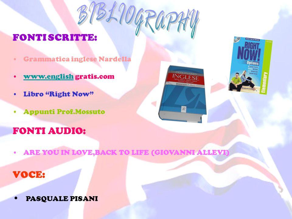 BIBLIOGRAPHY FONTI SCRITTE: FONTI AUDIO: VOCE: PASQUALE PISANI