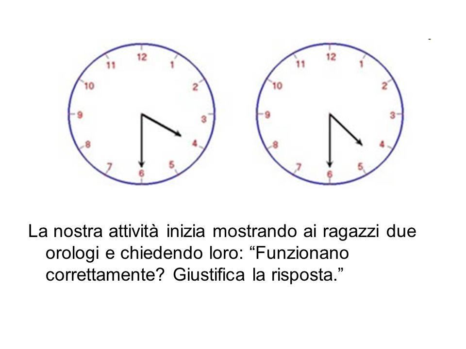 La nostra attività inizia mostrando ai ragazzi due orologi e chiedendo loro: Funzionano correttamente.