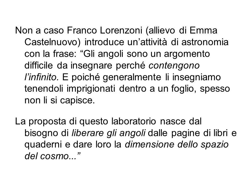 Non a caso Franco Lorenzoni (allievo di Emma Castelnuovo) introduce un'attività di astronomia con la frase: Gli angoli sono un argomento difficile da insegnare perché contengono l'infinito. E poiché generalmente li insegniamo tenendoli imprigionati dentro a un foglio, spesso non li si capisce.