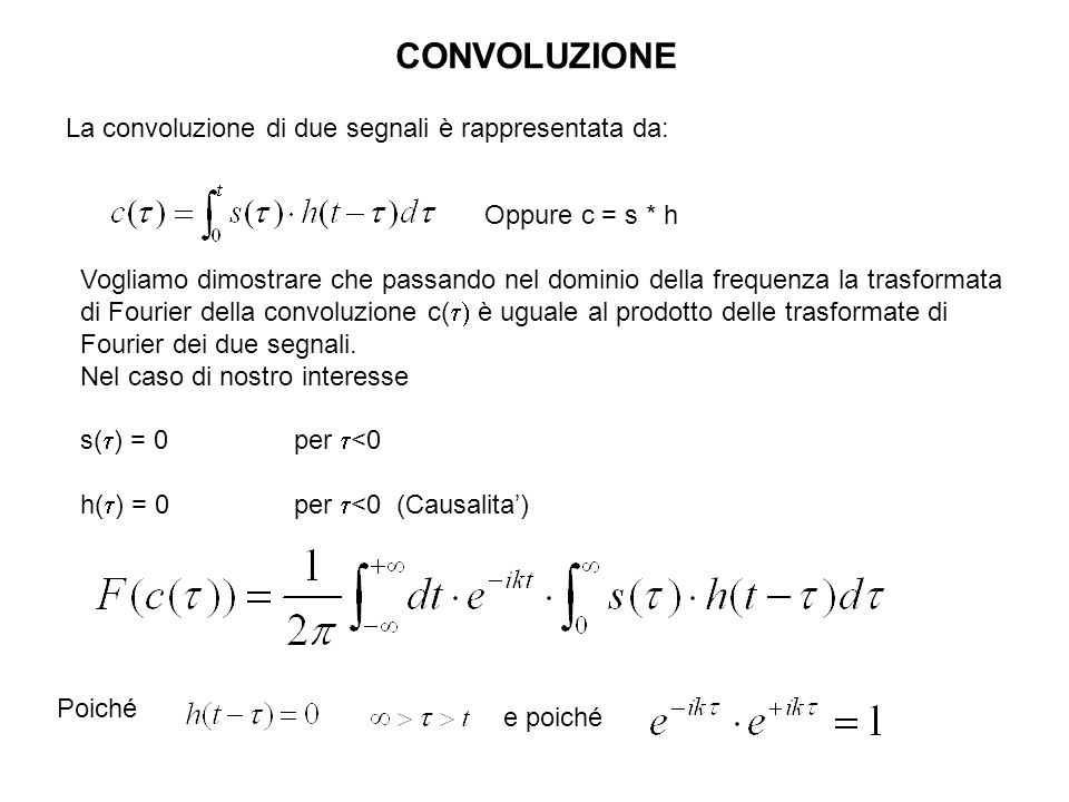 CONVOLUZIONE La convoluzione di due segnali è rappresentata da: