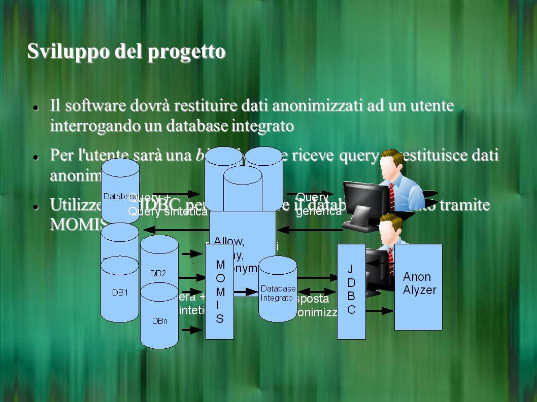 Sviluppo del progetto Il software dovrà restituire dati anonimizzati ad un utente interrogando un database integrato.