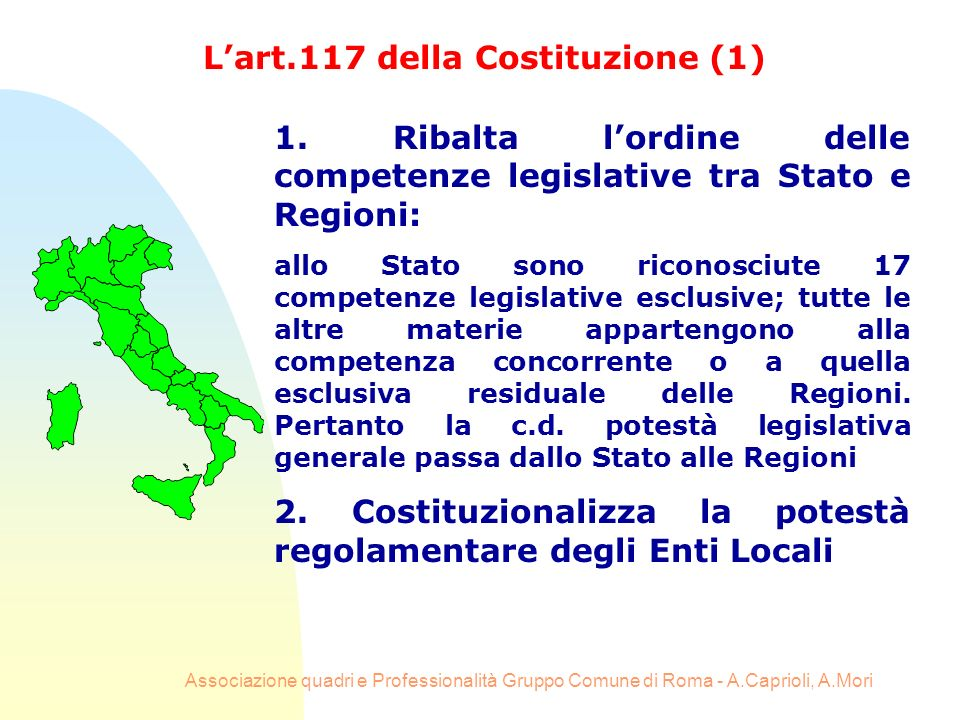 L'art.117 della Costituzione (1)