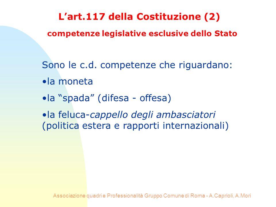 L'art.117 della Costituzione (2)