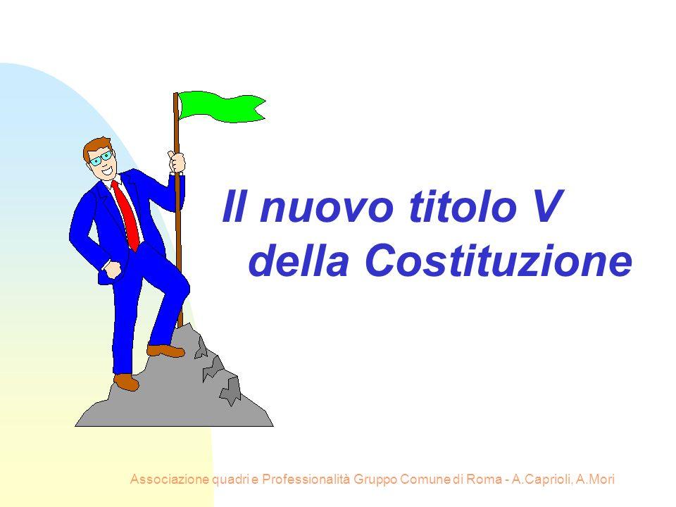 Il nuovo titolo V della Costituzione