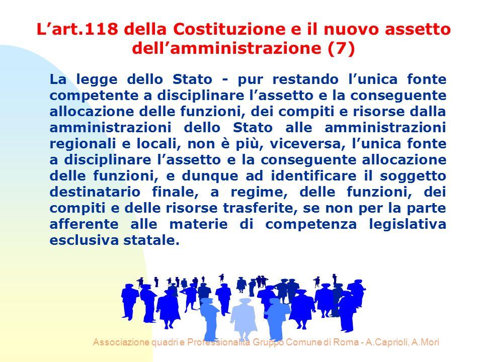 L'art.118 della Costituzione e il nuovo assetto dell'amministrazione (7)