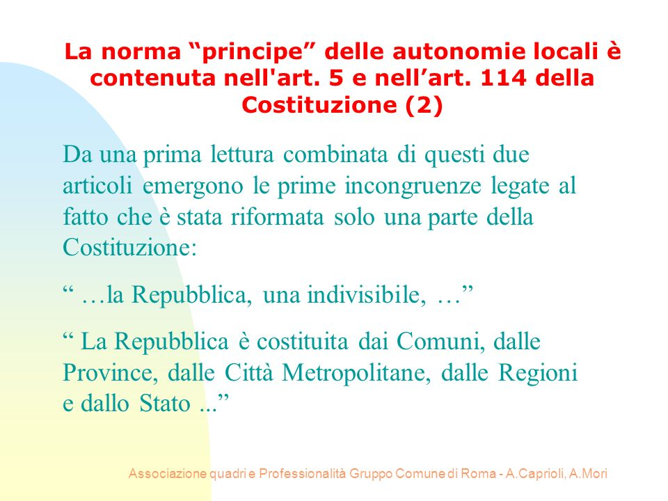 …la Repubblica, una indivisibile, …