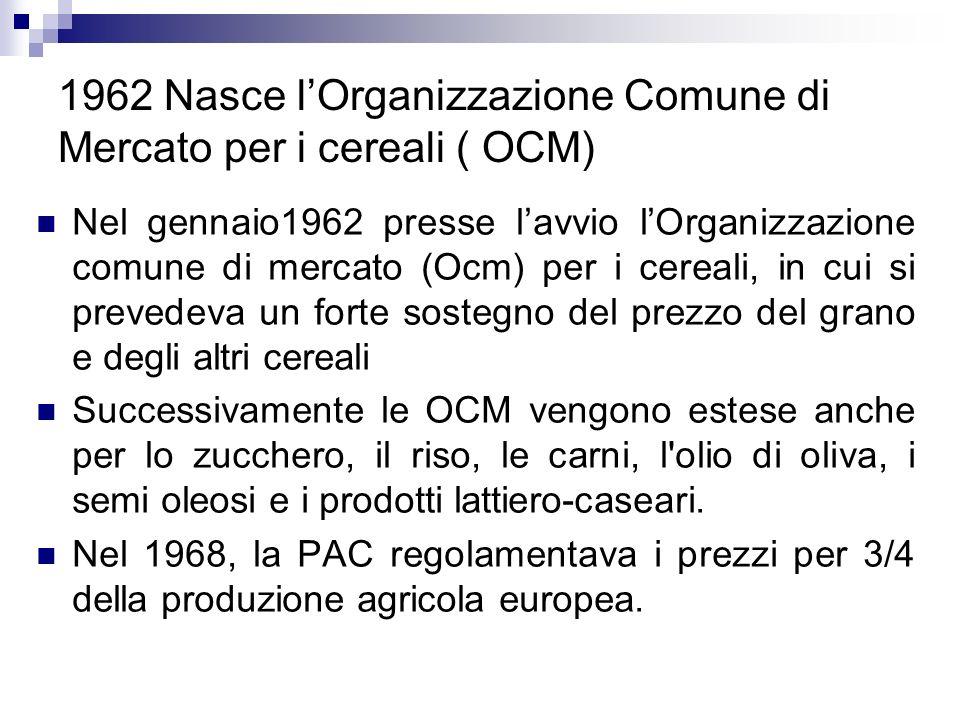1962 Nasce l'Organizzazione Comune di Mercato per i cereali ( OCM)
