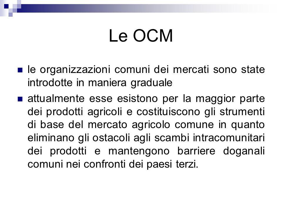 Le OCM le organizzazioni comuni dei mercati sono state introdotte in maniera graduale.