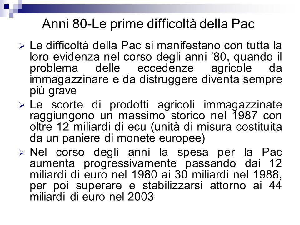 Anni 80-Le prime difficoltà della Pac