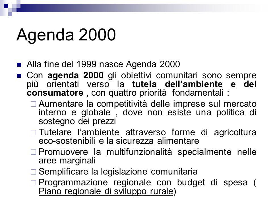 Agenda 2000 Alla fine del 1999 nasce Agenda 2000