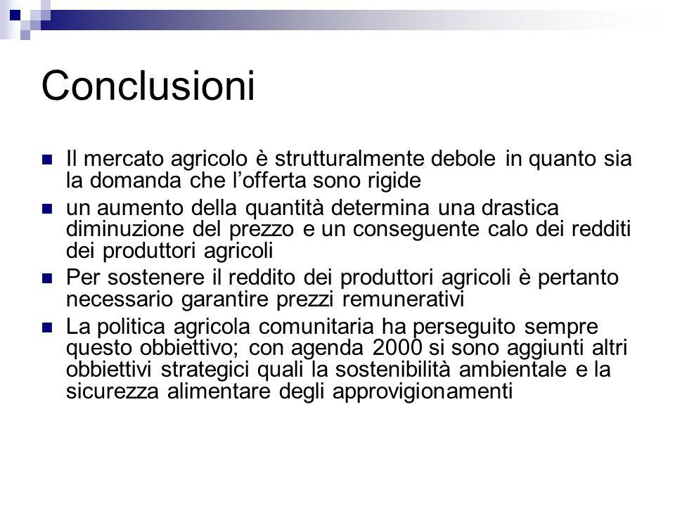 Conclusioni Il mercato agricolo è strutturalmente debole in quanto sia la domanda che l'offerta sono rigide.
