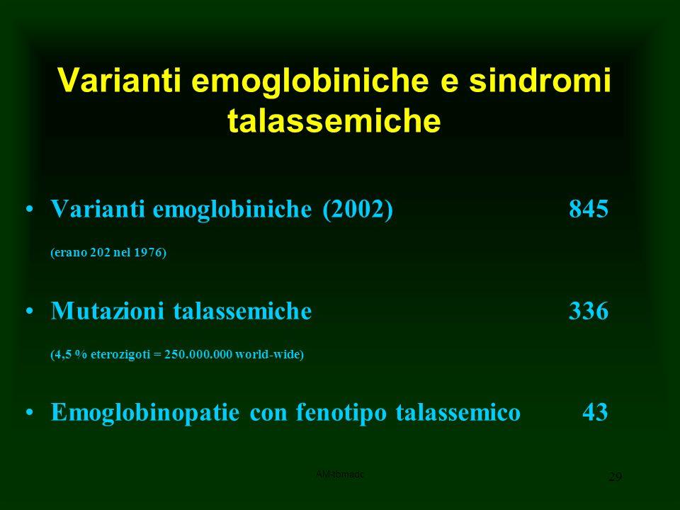 Varianti emoglobiniche e sindromi talassemiche