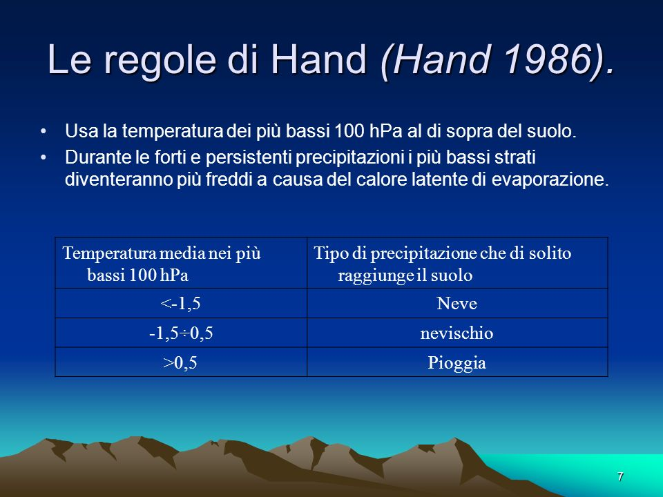 Le regole di Hand (Hand 1986).