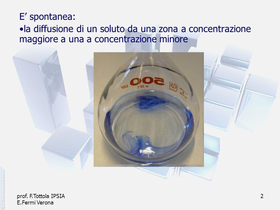 E' spontanea: la diffusione di un soluto da una zona a concentrazione maggiore a una a concentrazione minore.