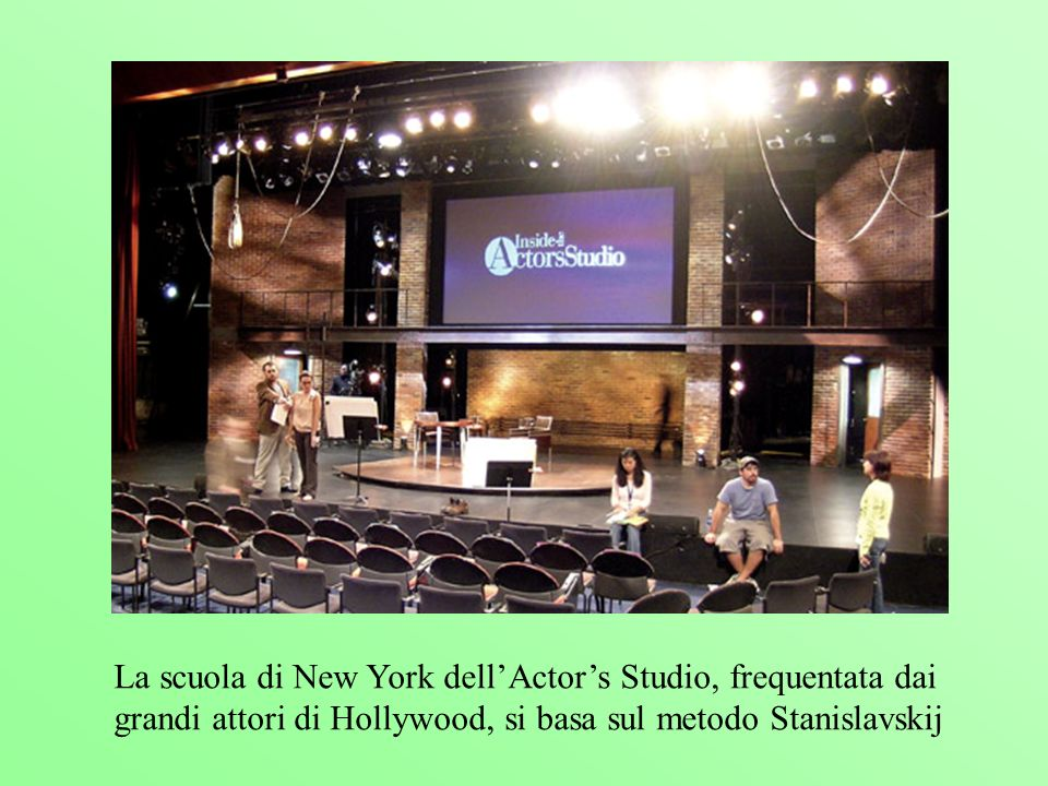 La scuola di New York dell'Actor's Studio, frequentata dai grandi attori di Hollywood, si basa sul metodo Stanislavskij