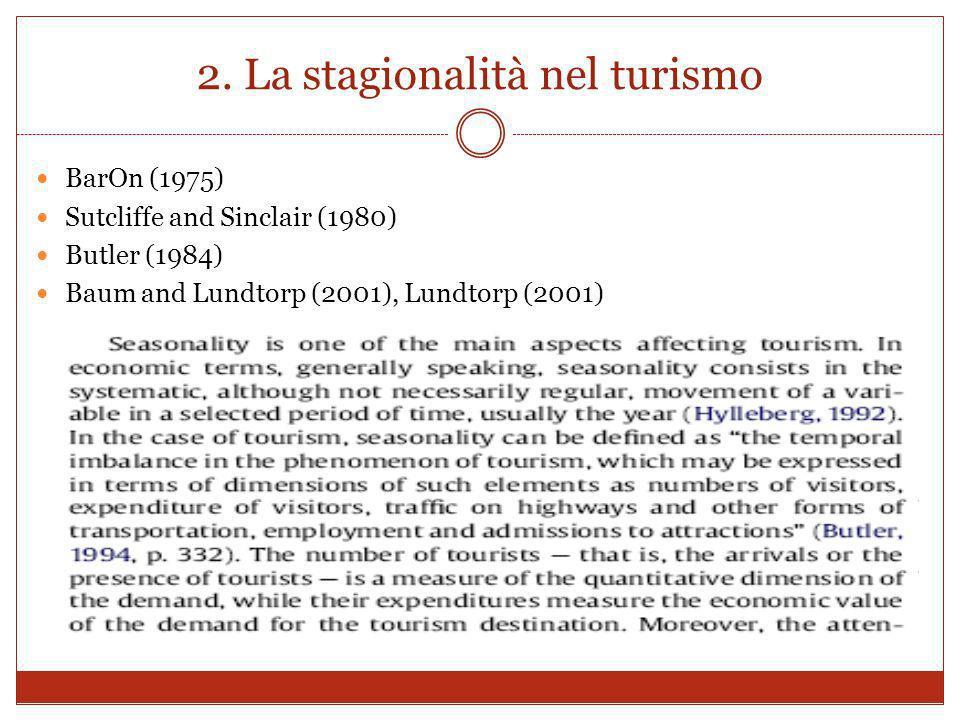 2. La stagionalità nel turismo