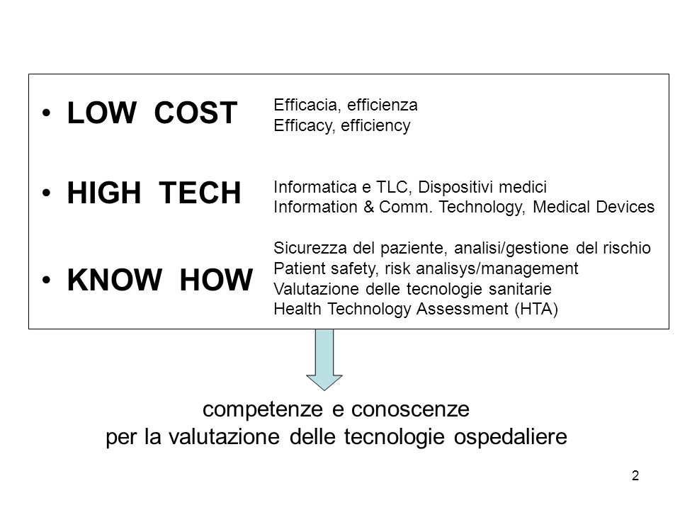 LOW COST HIGH TECH KNOW HOW competenze e conoscenze