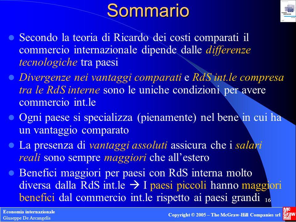 Sommario Secondo la teoria di Ricardo dei costi comparati il commercio internazionale dipende dalle differenze tecnologiche tra paesi.