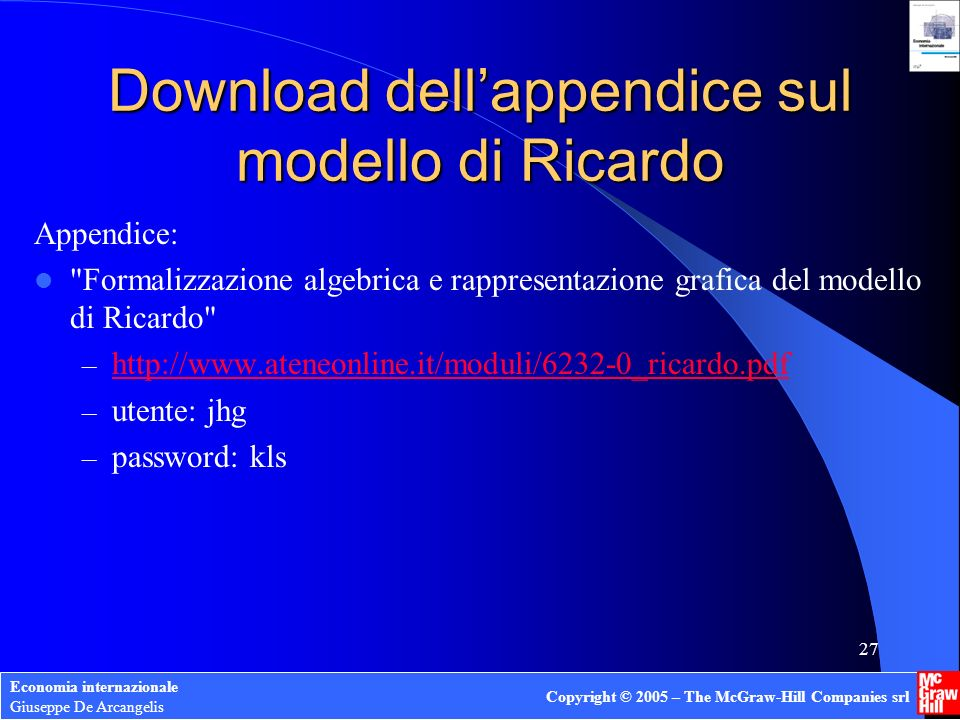 Download dell'appendice sul modello di Ricardo
