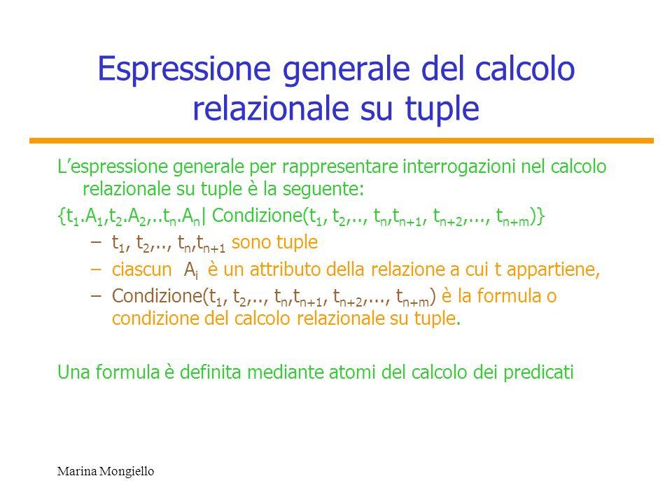 Espressione generale del calcolo relazionale su tuple