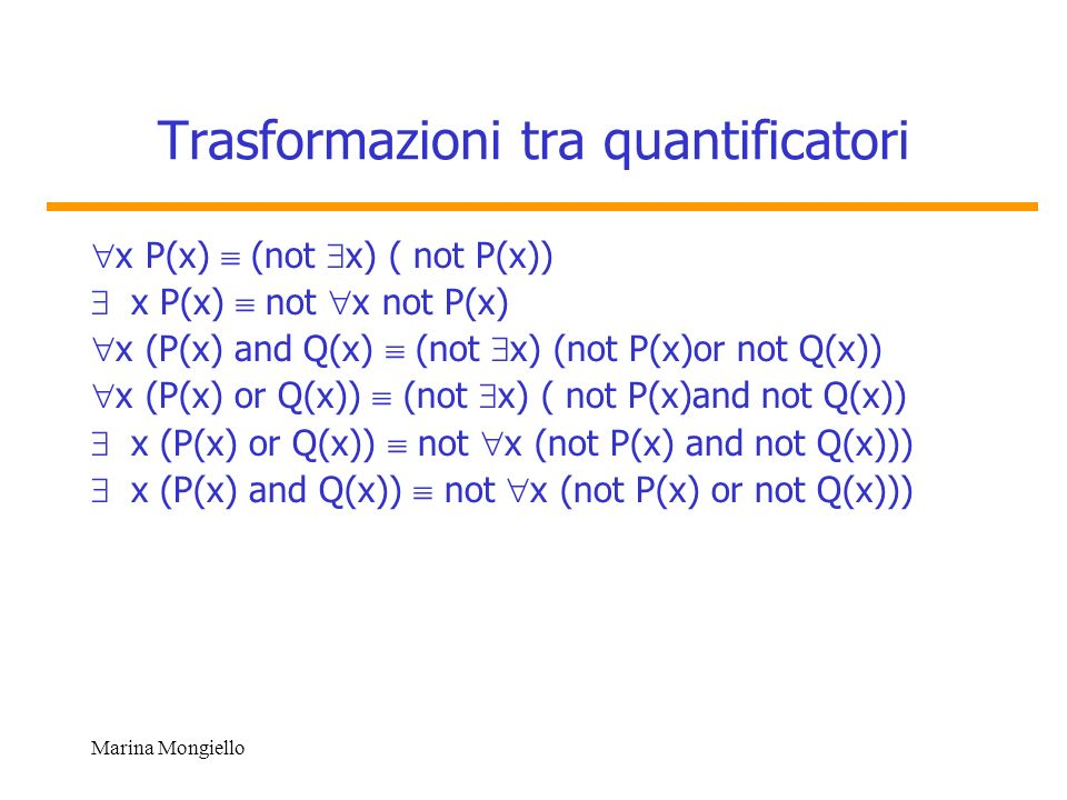Trasformazioni tra quantificatori