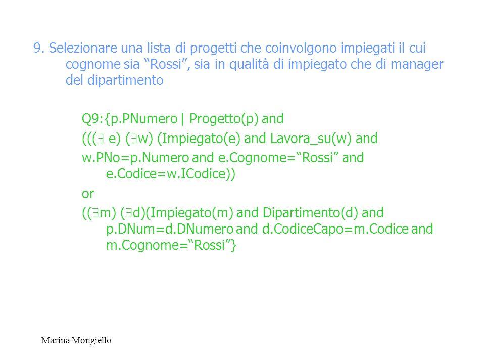Q9:{p.PNumero | Progetto(p) and