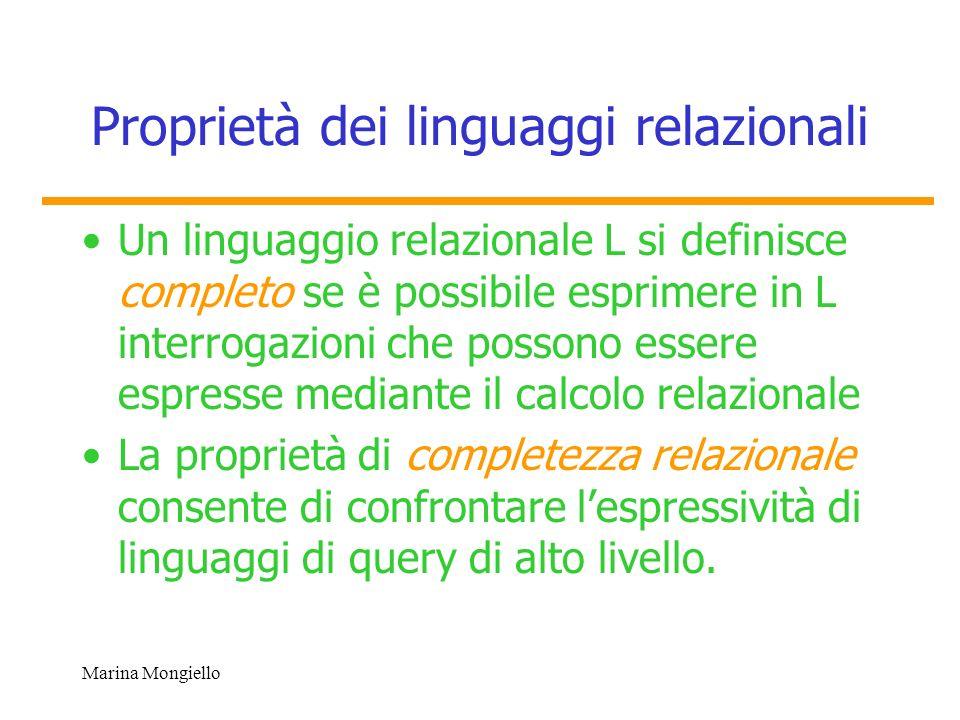 Proprietà dei linguaggi relazionali