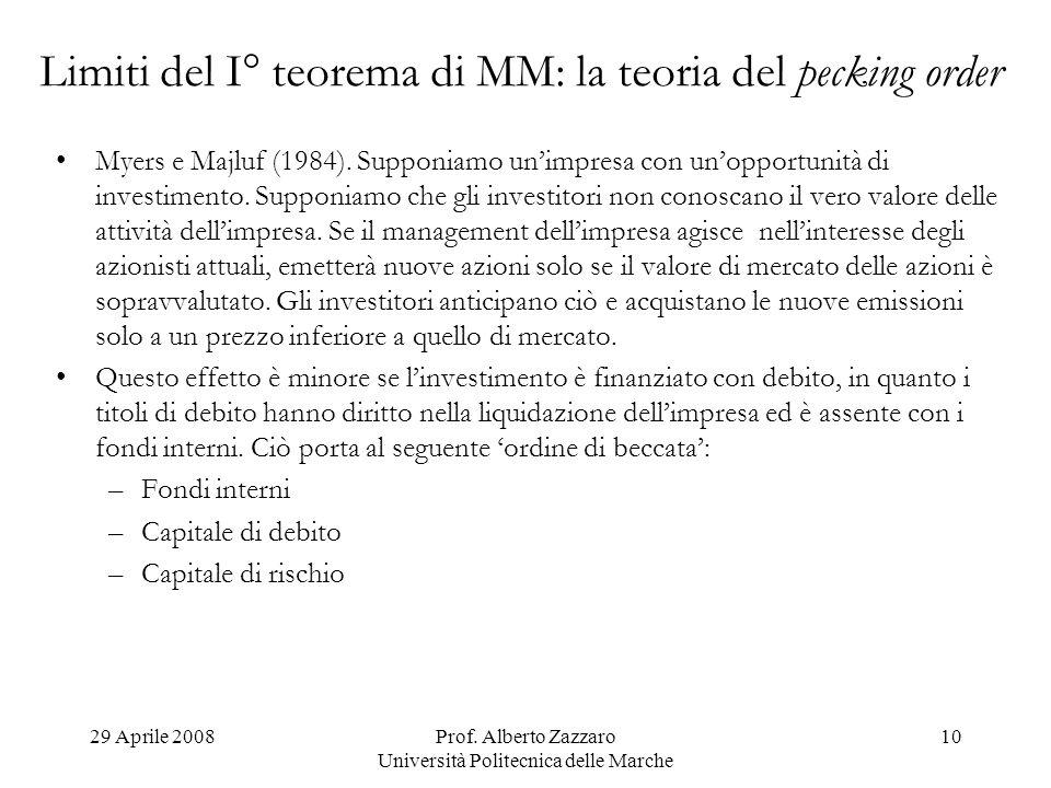 Limiti del I° teorema di MM: la teoria del pecking order