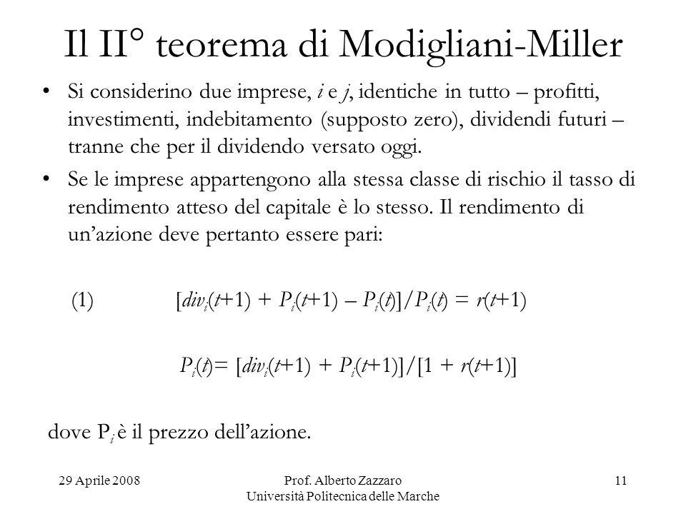 Il II° teorema di Modigliani-Miller