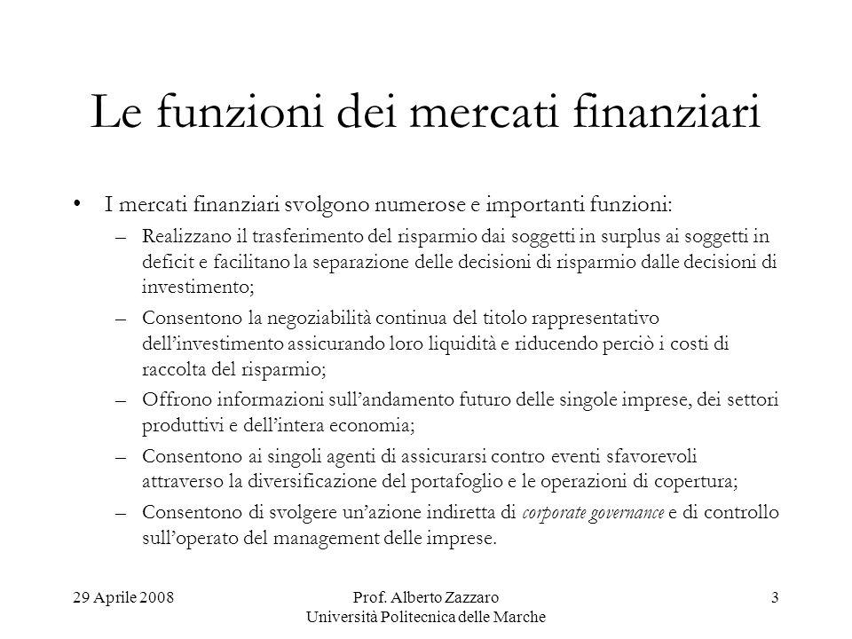 Le funzioni dei mercati finanziari