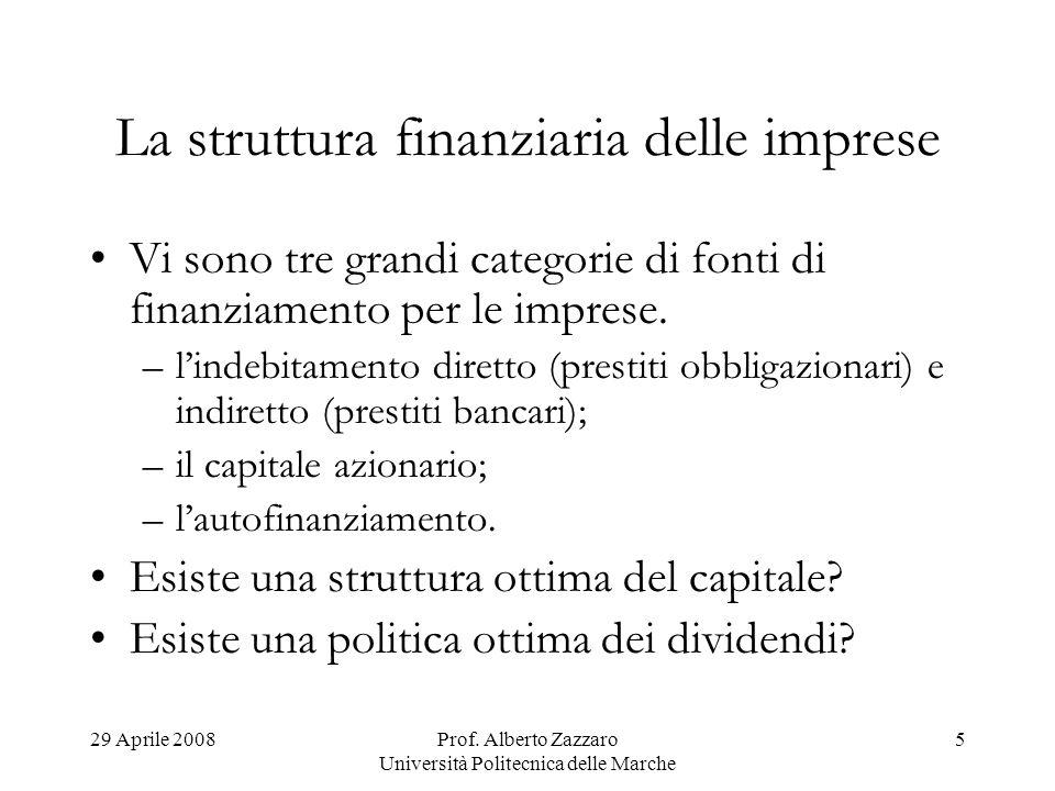 La struttura finanziaria delle imprese