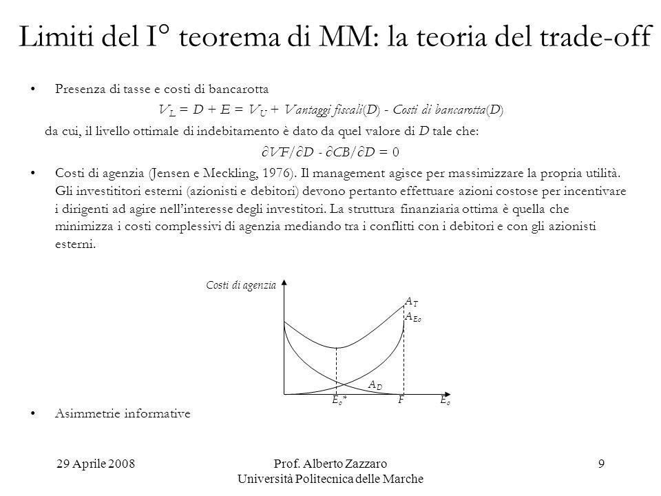 Limiti del I° teorema di MM: la teoria del trade-off