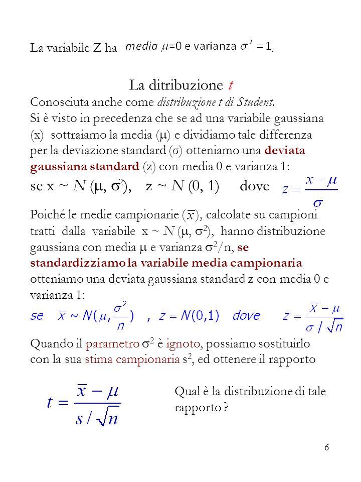 La ditribuzione t se x ~ N (, 2), z ~ N (0, 1) dove