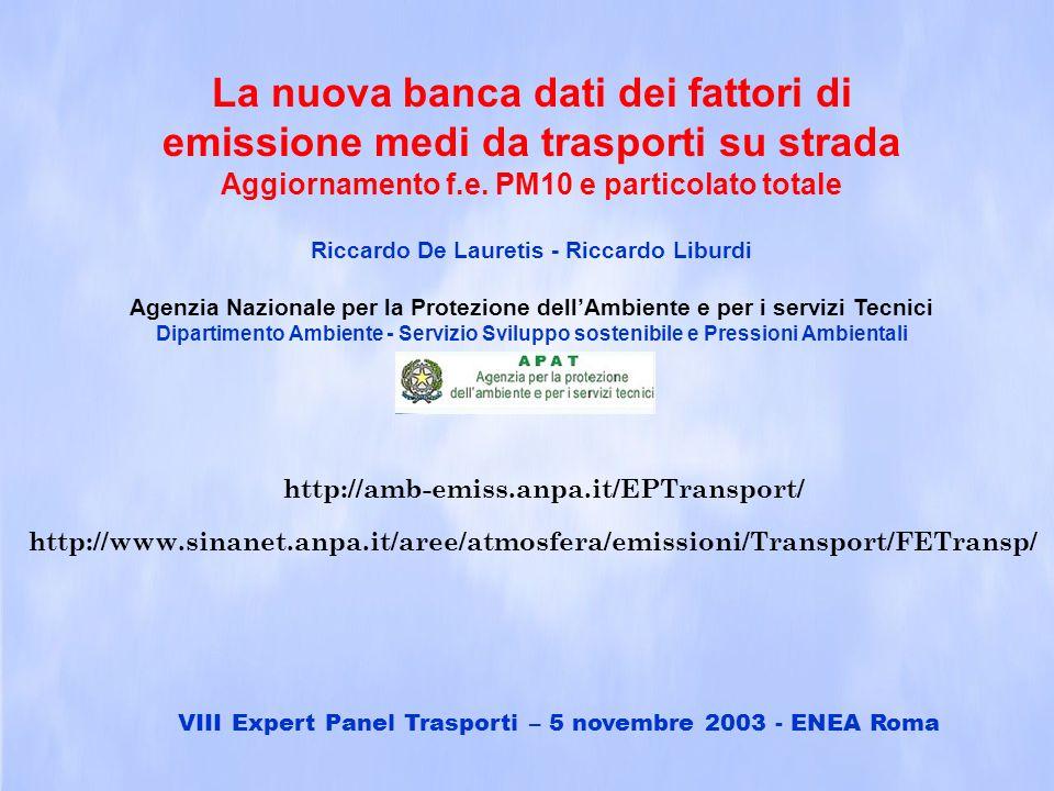 La nuova banca dati dei fattori di emissione medi da trasporti su strada