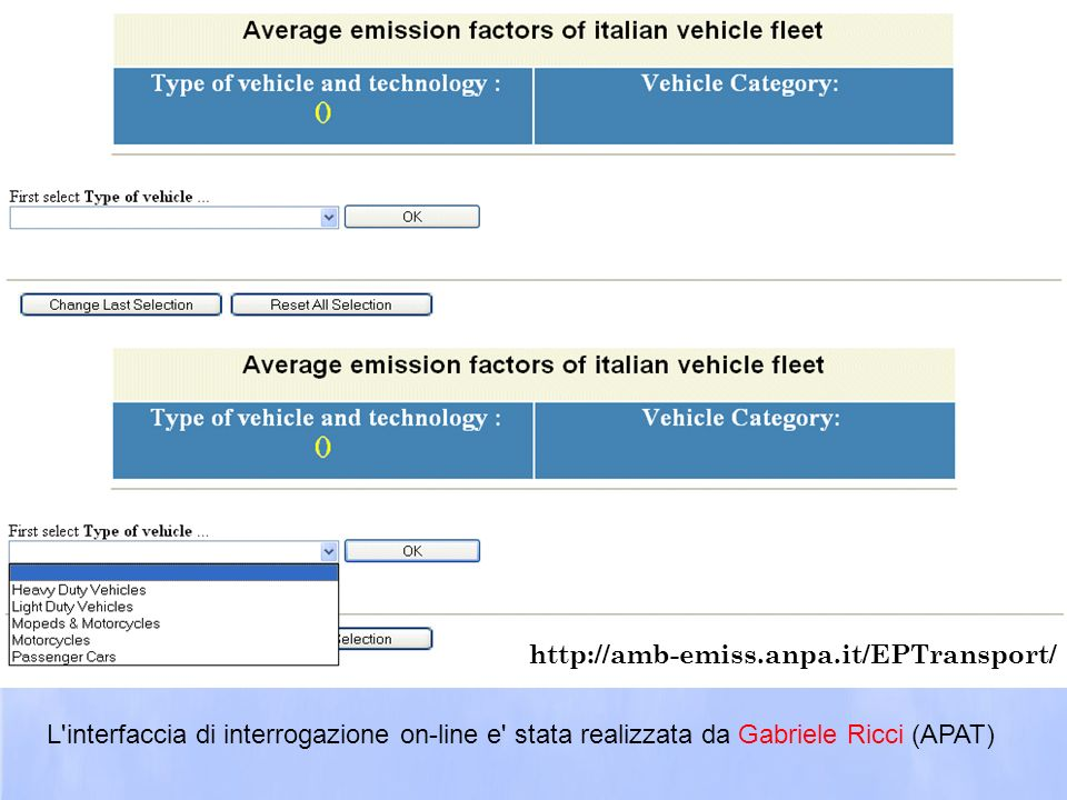 http://amb-emiss.anpa.it/EPTransport/ L interfaccia di interrogazione on-line e stata realizzata da Gabriele Ricci (APAT)