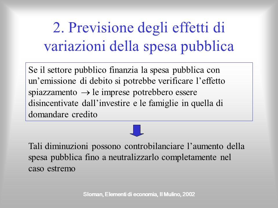 2. Previsione degli effetti di variazioni della spesa pubblica