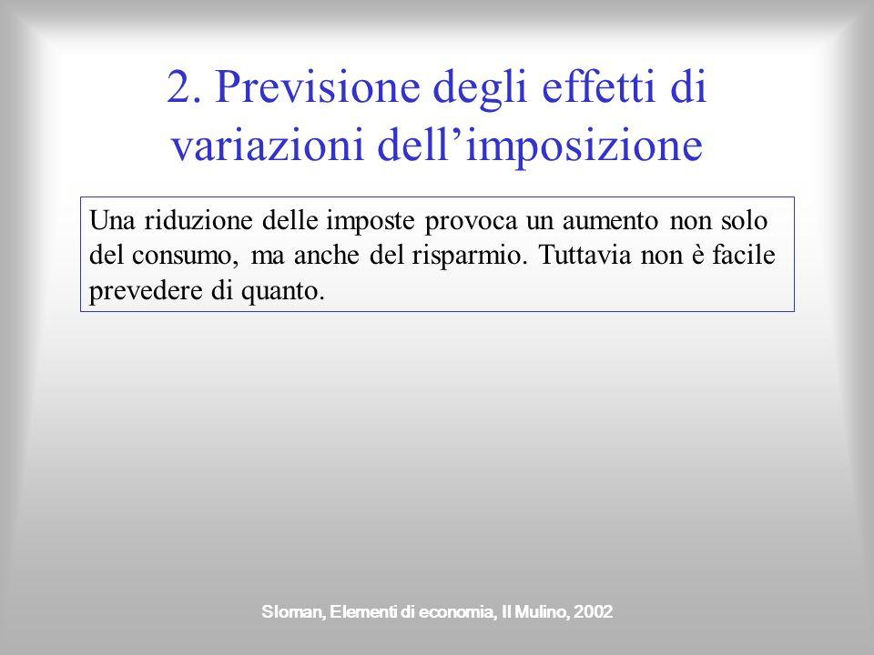 2. Previsione degli effetti di variazioni dell'imposizione
