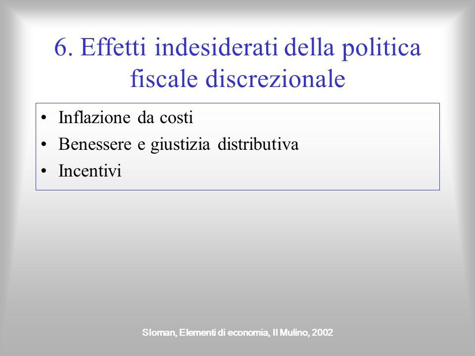 6. Effetti indesiderati della politica fiscale discrezionale